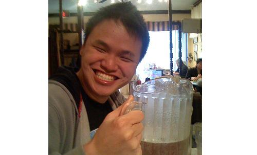 michael kwan with three-spout pitcher at pho lan richmond