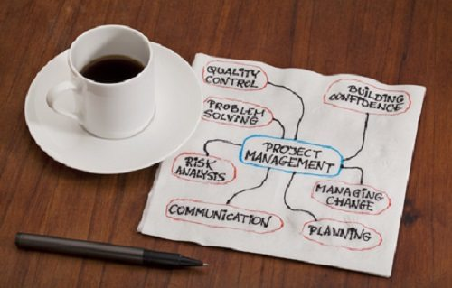 Project management concept - napkin doodle